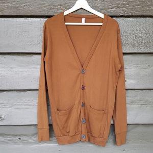 AMERICAN APPAREL Brown Unisex Basic Knit Cardigan sz M/L